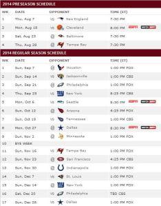 Redskins 2014 schedule